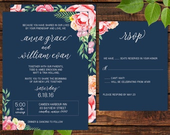 Watercolor Floral on Navy Blue Wedding Invitation Set - Printable or Printed