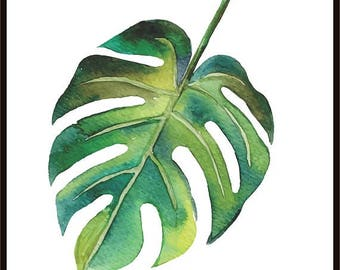 Tropical Print Watercolor Leaf Minimalist Print Wall Decor Digital Print Botanical Poster Tropical Leaf #4