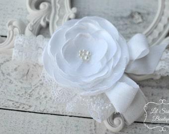 White Headband, Blessing Headband, Baptism Headband, Flower Headband, Wedding Headband, Christening, Couture Headband - Lil' Snow Princess