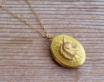 Brass Unicorn Locket Necklace, Gold Filled Chain, Art Deco Locket Pendant, Small Oval Locket, Unicorn Jewelry, Gold Unicorn Necklace