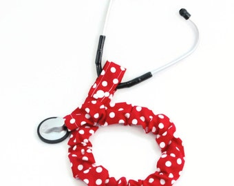 Stethoscope Cover, Student Nurse, Nursing Student, Stethoscope Sock, Medical, Stethoscope Accessories, Red and White Polka Dots, EMT