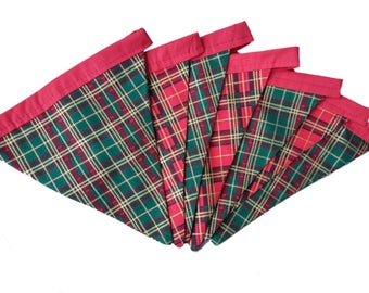 Red and Green with Gold Check Tartan Cotton Double Sided Bunting
