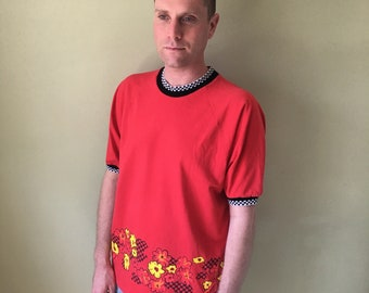 The Body Co Vintage Red Checkerboard Floral Tee