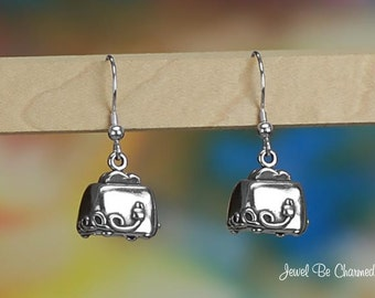 Sterling Silver Toaster Earrings Pierced Fishhook Earwires Solid .925