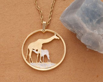 """Mother Giraffe and Baby Pendant and Necklace,Zambia Giraffe Coin Hand Cut,14 Karat Gold and Rhodium PLated, 1 3/8"""" in Diameter, ( #883 )"""