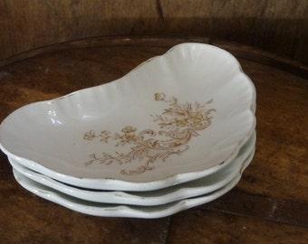 Vintage Brown Floral Johnson Bros Bone Dish Semi-Porcelain