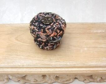 Modern Silk Basket - Vintage Glass Flower Embellished Silk Tapestry Basket w/ Lid - Valentine's Day, Mother's Day, Wedding Anniversary Gift