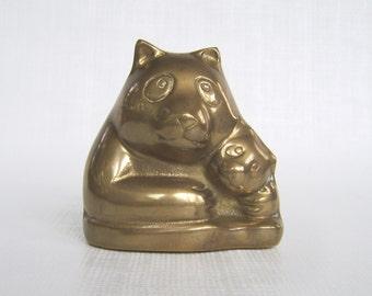 Vintage Brass Bank, Brass Panda, Vintage Panda, Panda Bear, Panda Bank, Mommy & Baby, Panda Cub, New Baby Gift, Nursery Bank, Panda Figurine