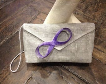 Wedding thought sisal bluish grey and lilac bow clutch