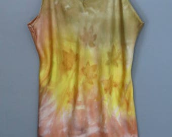 Silk tank top, fall colors, hand painted silk, size XL, leaf pattern, hand dyed silk, silk camisole, silk blouse
