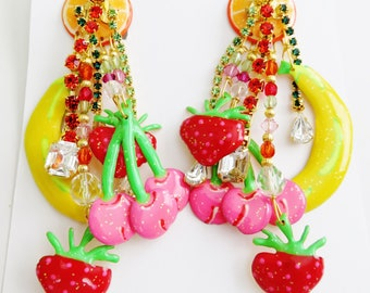 Brand New Never Worn Lunch At The Ritz Tutti Fruity Clip Earrings