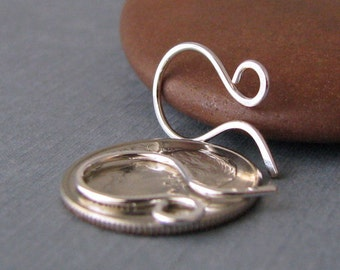 Silver Filled Tiny French Hoop Earwires, Handmade Findings, 2 pairs