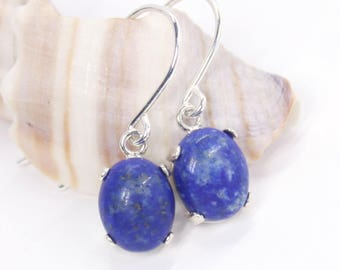 Lapis Lazuli Earrings, Lapis Earrings, Dangle Earrings, Silver Earrings, Gemstone Earrings, Sterling Silver, Drop Earrings, Lapis Lazuli