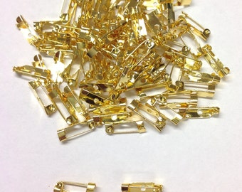 Golden Brooch Pins 15mm x 6mm with Hook Catch For Jewellery Making