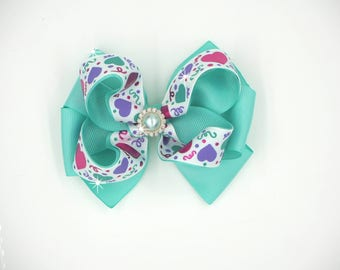 Valentine Hearts Hairbow