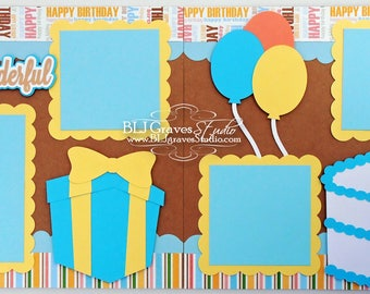 2 Premade First Birthday Boy Baby Scrapbook Pages 12x12 Layout Paper Piecing Handmade 49