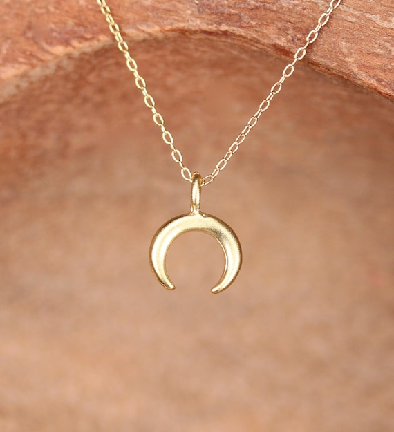 Crescent Horn Necklace: Tiny Double Horn Necklace Gold Crescent Necklace Silver