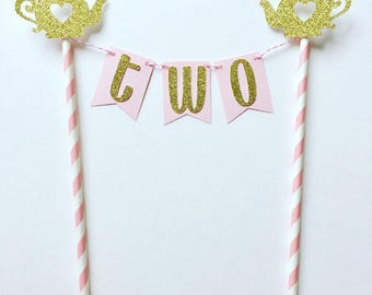 Tea Party Age Bunting Cake Topper / Tea for Two / Tea Party Birthday