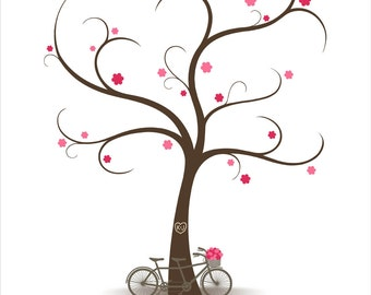 Wedding Tree Guest Book with Tandem Bicycle, Fingerprint Signature Wedding Guestbook, Fingerprint Guest Book Tree - DIGITAL PRINTABLE FILE