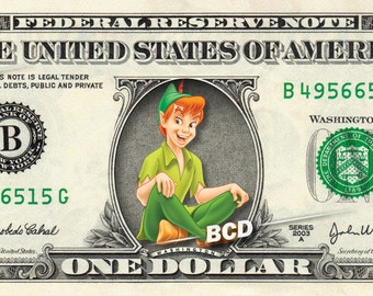 PETER PAN on a Real Money - Handmade Custom Dollar Bill Art Cash Disney