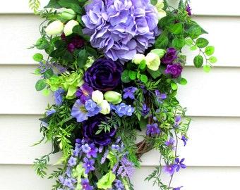 Summer Door Swag, Front Door Wreath Swag, hydrangea door swag, purple door wreath, Summer Door Wreath, Spring Door Swag, door swags Summer