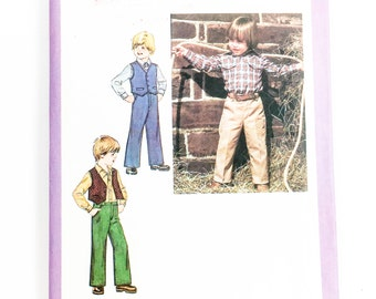 70s Boys Shirt Pattern | Simplicity 9129 Childrens Pants Shirt Vest Pattern | 70s Sewing Pattern