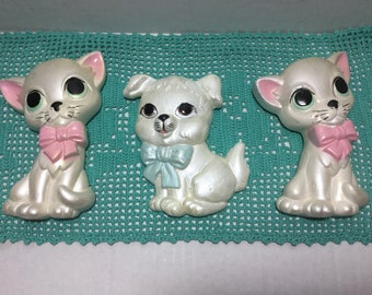 Miller Studios Puppy and Kitty, Chalkware Big Eyed Dog and Cat Kitsch Wall Hangings