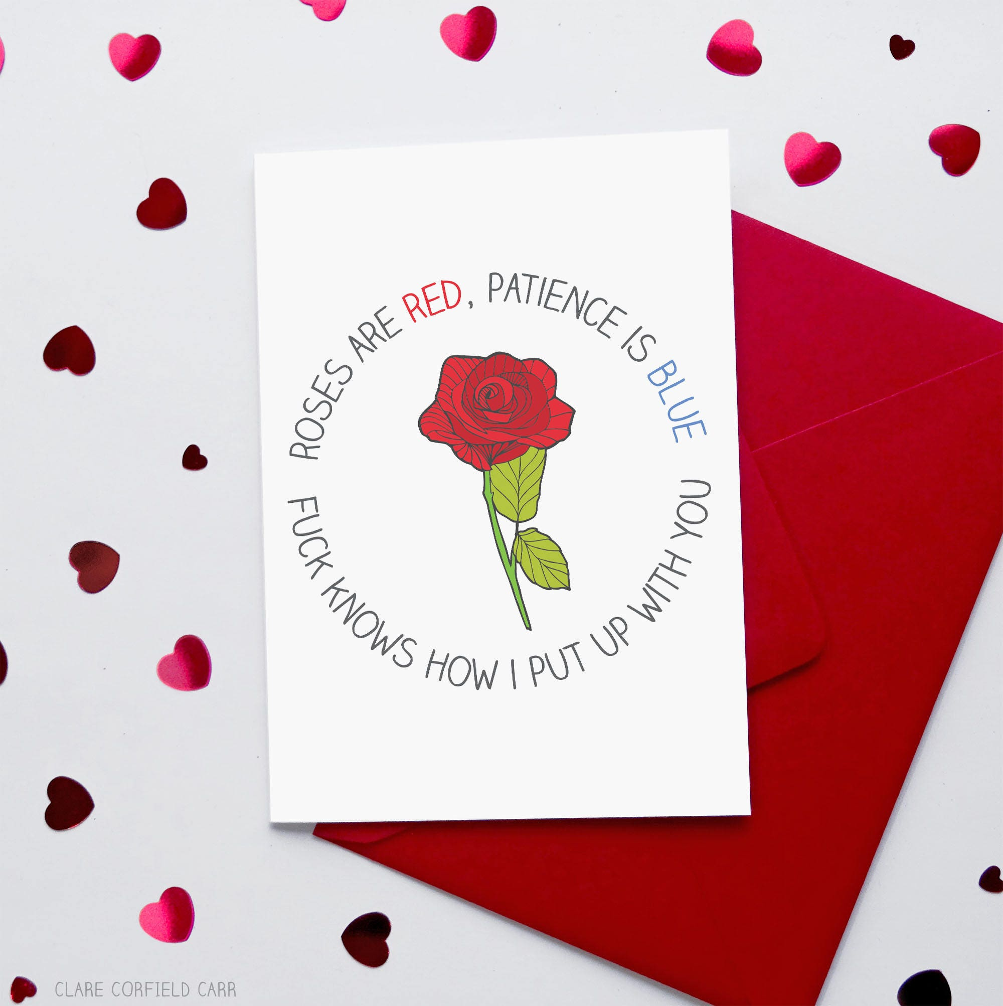 Sarcastic Funny Valentine\'s Card Roses are Red Poem