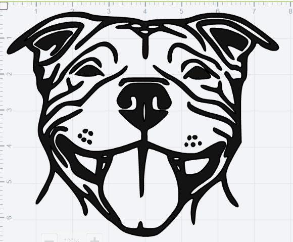 Smiling Pitbull Svg Eps Dxf Studio 3 Cut Files