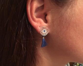 Print in silver and blue tassel earrings