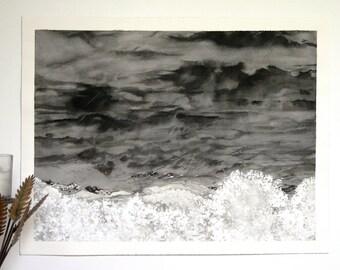 Watercolor Clouds Painting- Gray, Black, White- Unafraid- Stormy Sky- Boulder Colorado- 12x16- Horizontal