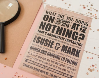 Personalised Typography Wedding Invitation (Digital PDF - Print your own)