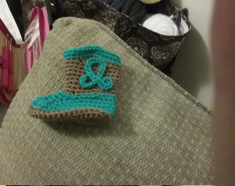 Hand Crocheted Cowboy Booties