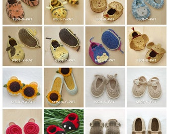 Crochet Pattern Any 10 for USD43 | Crochet Pattern Baby Booties Toddler Shoes Newborn Socks Women Home Slipper Children Kids Accessories