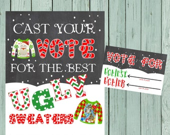 Ugly Sweater Voting Sign & Voting Card*** Digital File *****INSTANT DOWNLOAD**** -(Ugly-Vote)