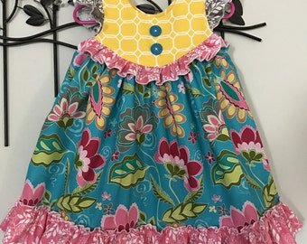Floral Summer Dress, Summer Ruffle Dress, Girls Boutique Dress