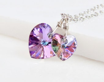 Two hearts necklace - crystal necklace - hearts necklace - Swarovski necklace - purple hearts necklace - valentines day gift