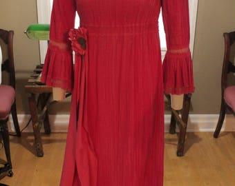 Late 1960's Flamenco Style Cotton Dress