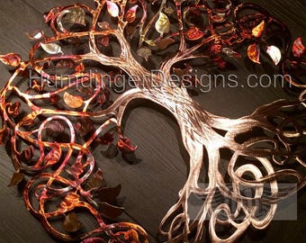 Pure Copper Seven Year Gift Infinity Tree of Life Wall Sculpture