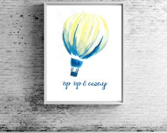 Up & Away Wall Print | Hot Air Balloon | Home Decor | Nursery Decor | Office Decor