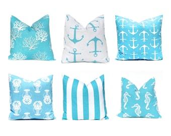 Euro Pillow, Pillow Sham, Throw Pillow, Pillow Cover, Decorative Pillow, 22 x 22, 24 x 24, 26 x 26, Turquoise Pillow, Beach Decor