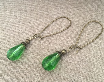 Green Capped Crystal Bead Earrings