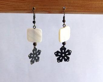 Earrings dangle Bohemian Pearl and filigree flower