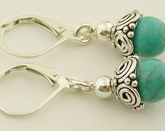 Turquoise Sterling Silver Lever Back Earrings 20