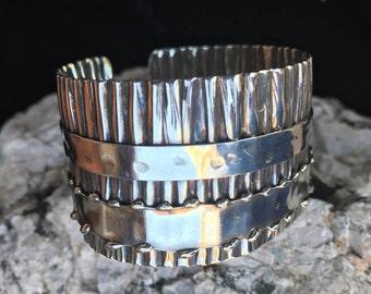Silver Cuff Bracelet | Modern Boho Cuff |  Silver Corrugated Ruffle Cuff Bracelet with Bands #carefreejewelry