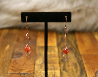 Copper and agate earrings.