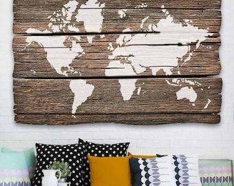 World Map Wall Art Stencil - Reusable Stencils for DIY Craft Projects - Better than Decals