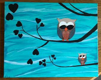 Blue owls painting