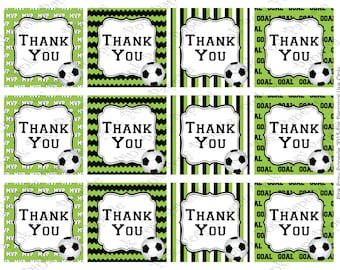 Printable Soccer Thank You Tags - Instant Download
