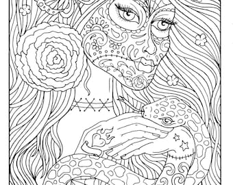 5 Pages Day of the Dead Girls Digital, coloring book, coloring pages, digi stamp, adult coloring, halloween